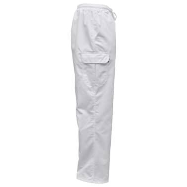 vidaXL Pantaloni bucătar, talie extensibilă, mărimea XXL, alb, 2 buc.[3/5]