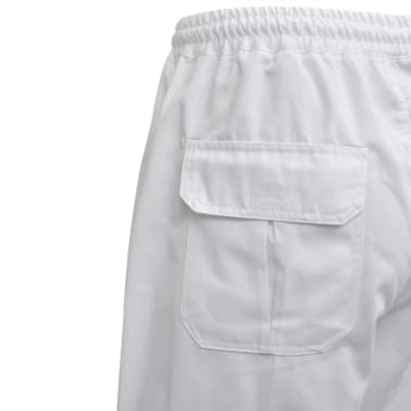 vidaXL Pantaloni bucătar, talie extensibilă, mărimea XXL, alb, 2 buc.[4/5]