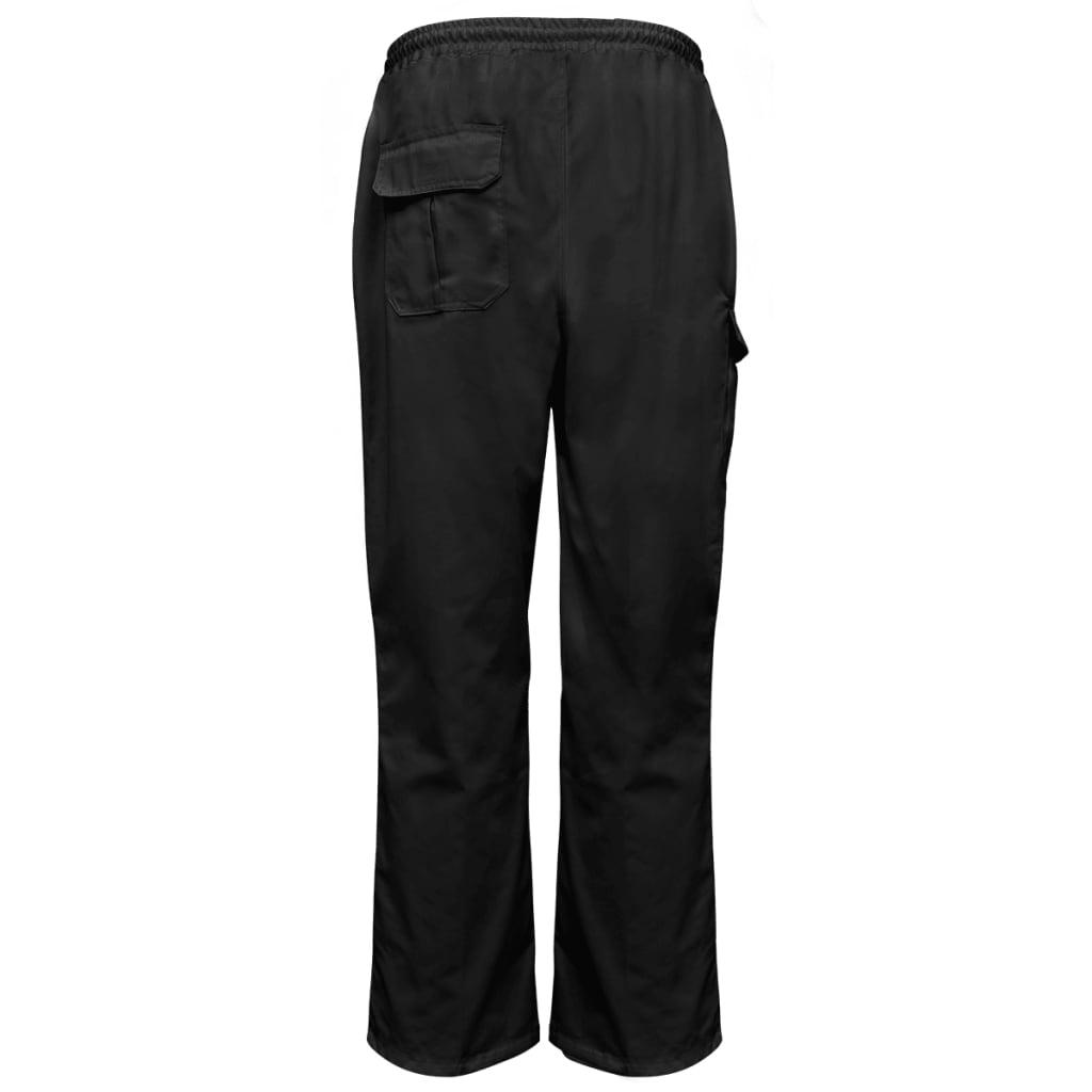 vidaXL Kuchařské kalhoty 2 ks s gumou a šňůrou v pase vel. S, černá