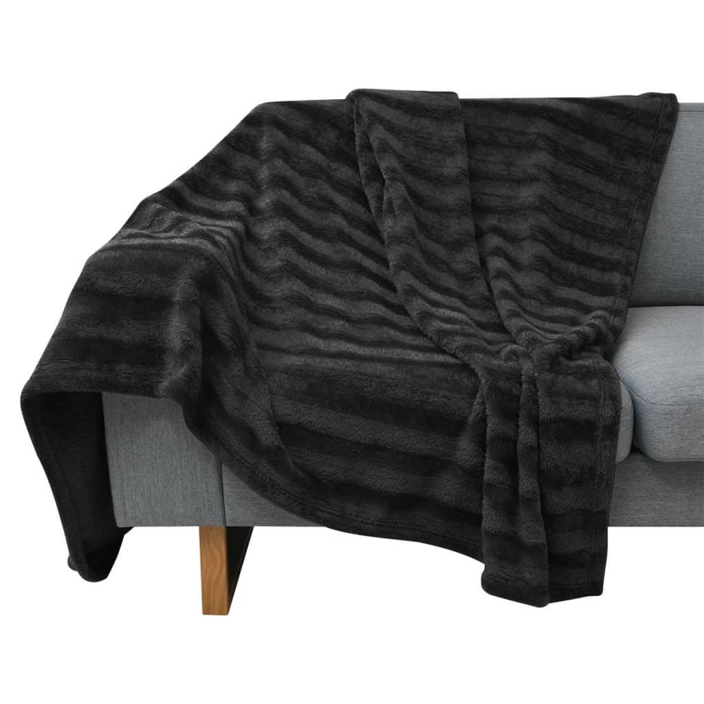 vidaXL Pătură cuvertură imitație blană 100 x 150 cm, negru vidaxl.ro