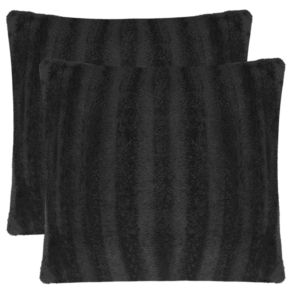 vidaXL Huse de pernă din blană artificială, 80 x 80 cm, negru, 2 buc. poza 2021 vidaXL