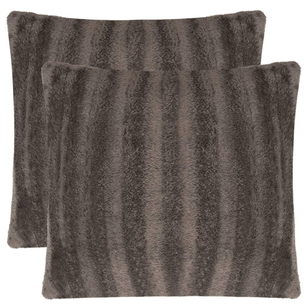 vidaXL Huse de pernă din blană artificială, 50 x 50 cm, gri, 2 buc. poza 2021 vidaXL