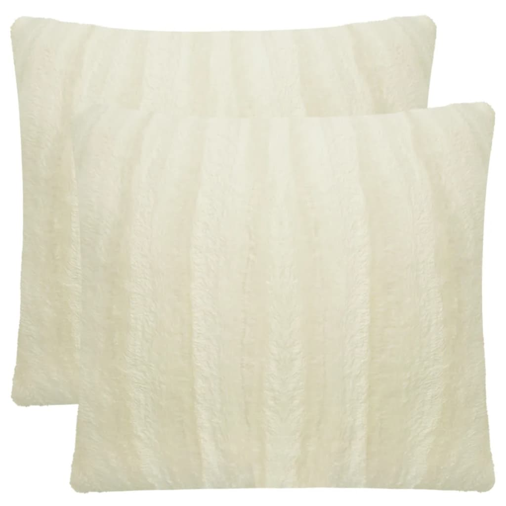 vidaXL Huse de pernă din blană artificială, 40 x 40 cm, crem, 2 buc. poza 2021 vidaXL