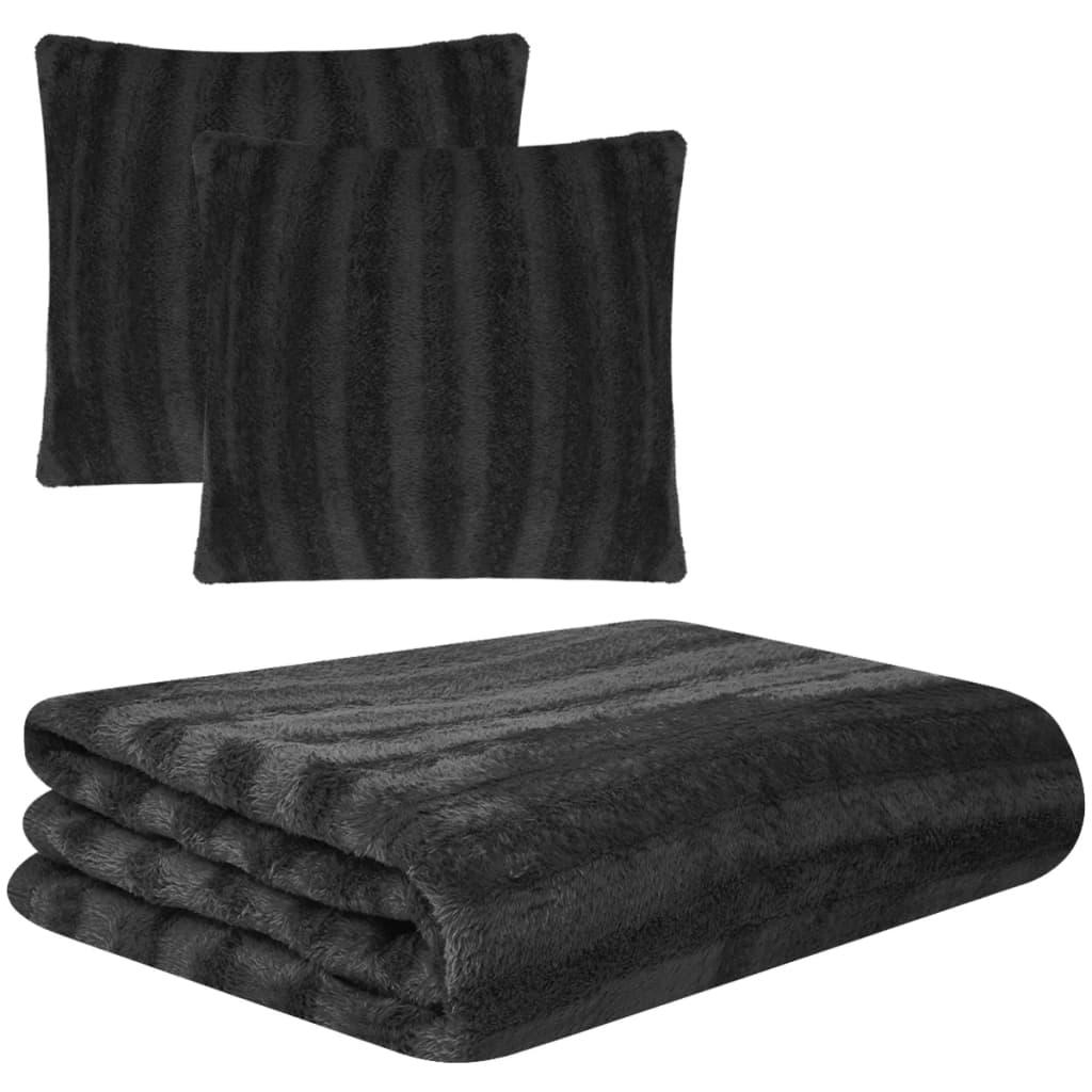 Třídílná sada přehoz a potahy na polštáře umělá kožešina černá