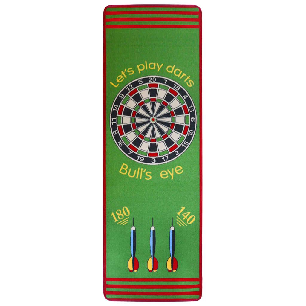 vidaXL Koberec s terčem na šipky 79 x 237 cm zelený a červený