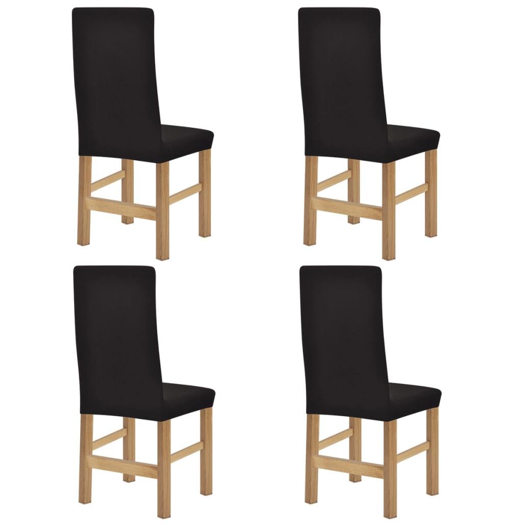 vidaXL Husă elastică scaune din poliester cu striații, maro, 4 buc. vidaxl.ro