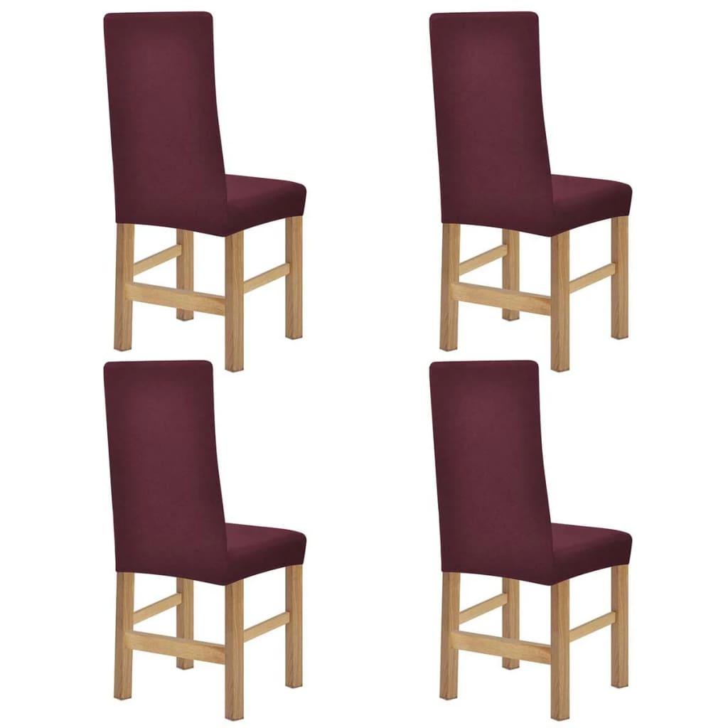 vidaXL Husă elastică pentru scaun, poliester striat, burgundy, 4 buc. poza 2021 vidaXL