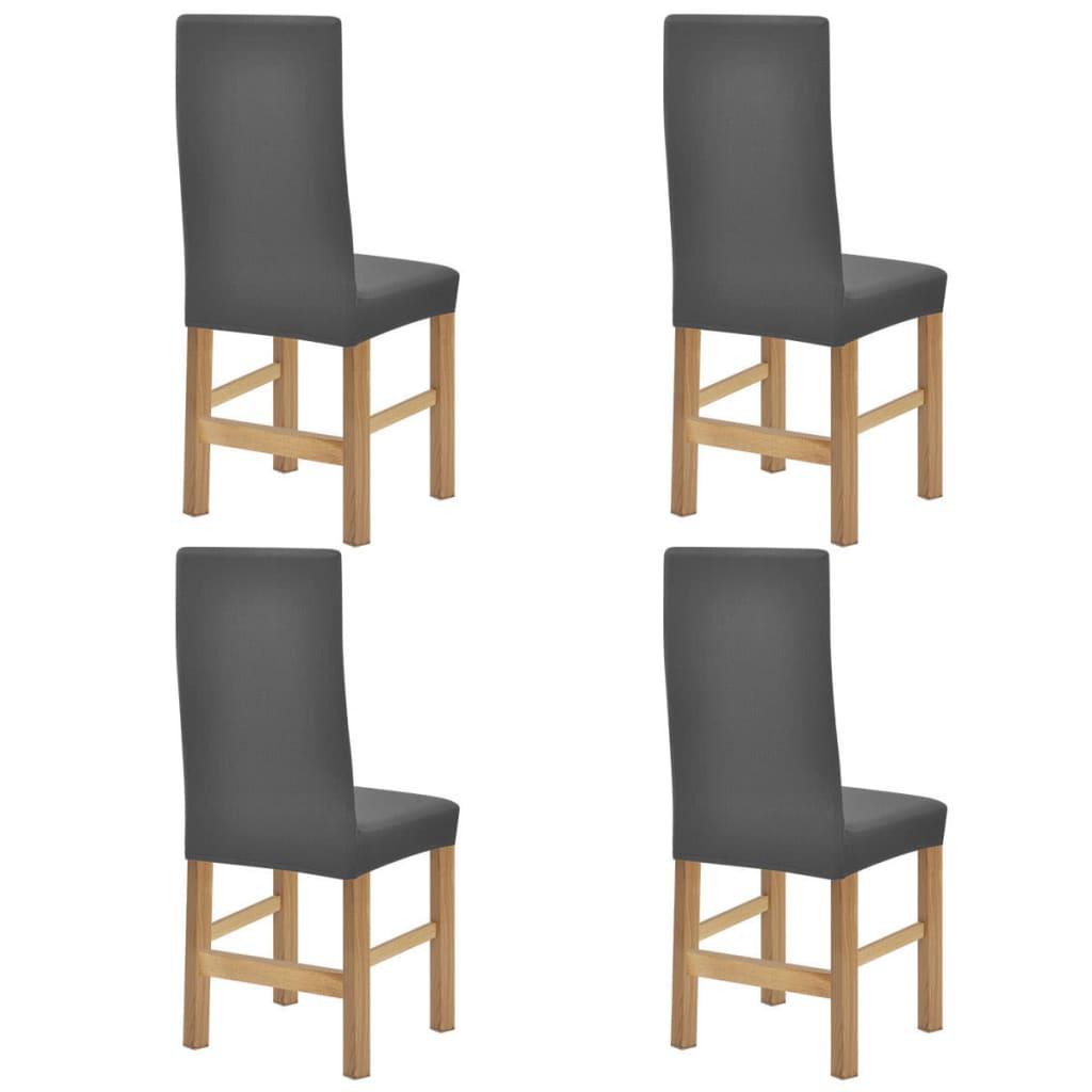 vidaXL Husă elastică scaune, 4 buc, gri, poliester cu textură striată poza 2021 vidaXL