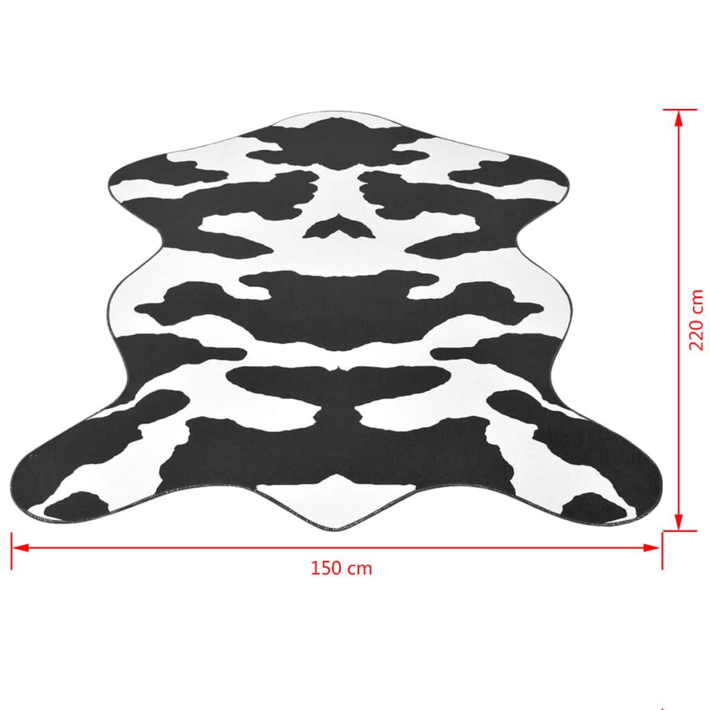 Vloerkleed 150x220 cm zwart koeien print