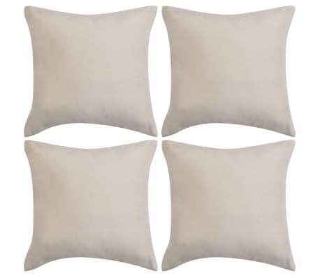 vidaXL Cushion Covers 4 pcs 40x40 cm Polyester Faux Suede Beige
