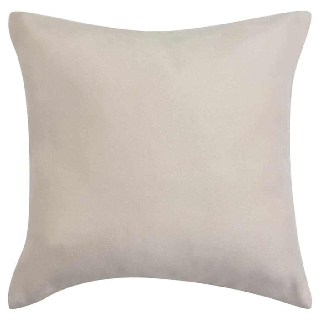 vidaXL Povlaky na polštář 4 ks 50x50 cm polyester umělý semiš béžová