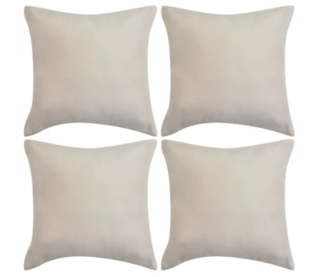 vidaXL Cushion Covers 4 pcs 80x80 cm Polyester Faux Suede Beige