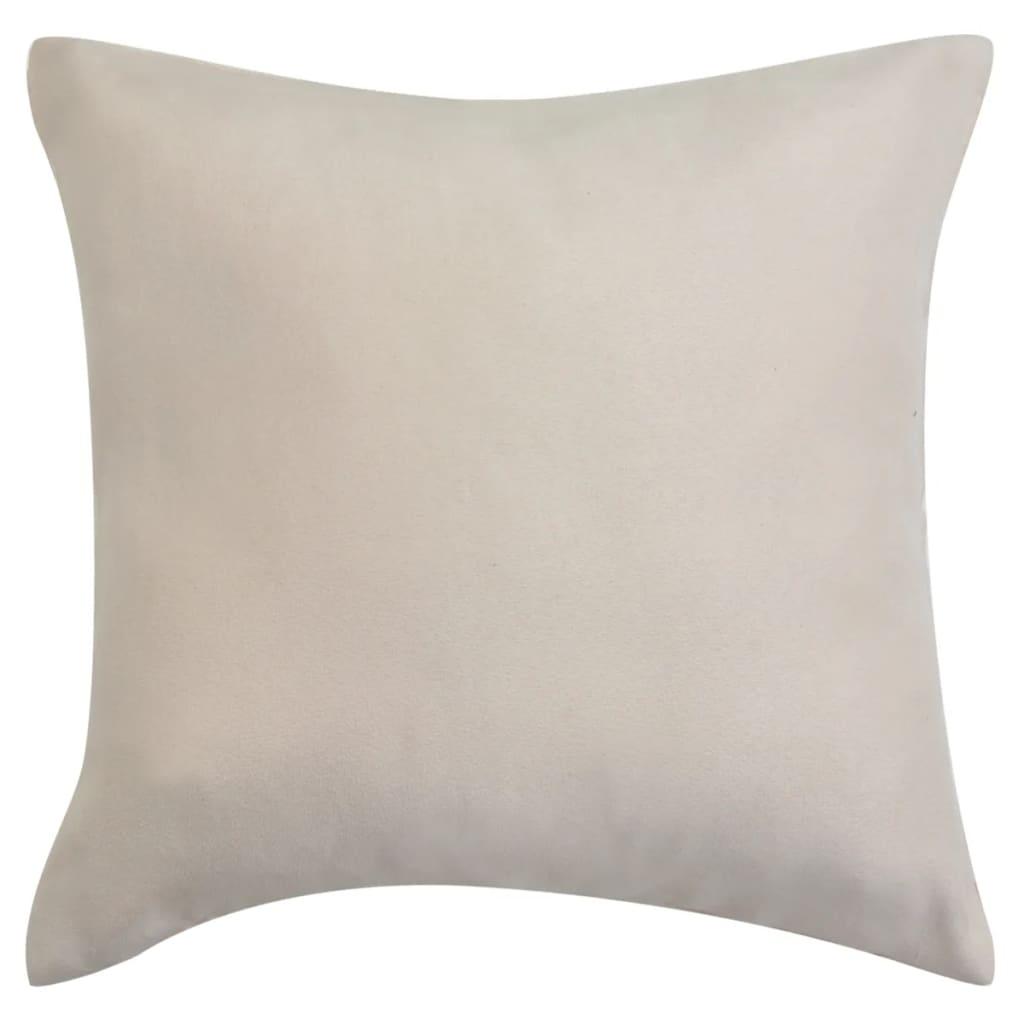 vidaXL Povlaky na polštář 4 ks 80x80cm polyester umělý semiš béžová