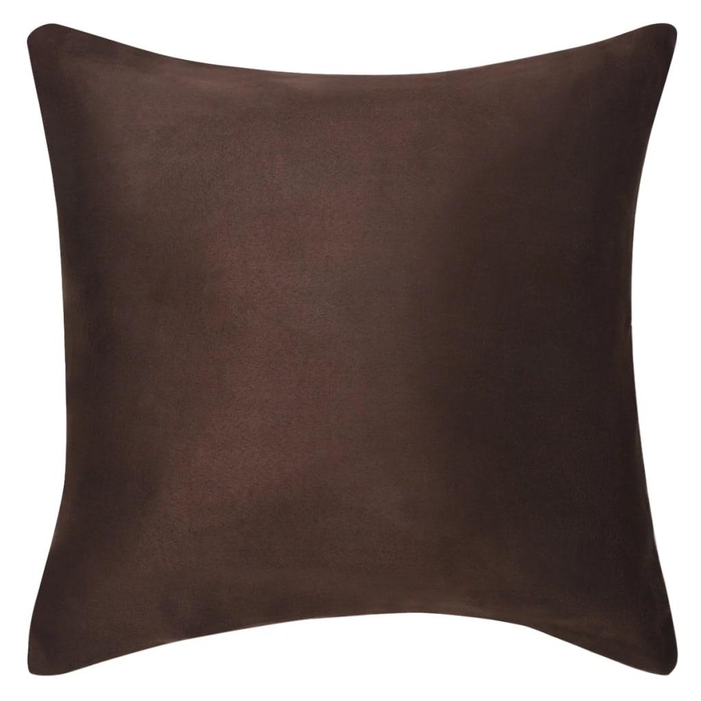 vidaXL Povlaky na polštář 4 ks 40x40cm polyester umělý semiš hnědá