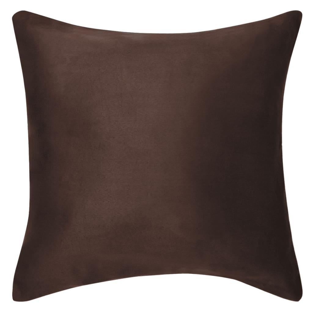 vidaXL Povlaky na polštář 4 ks 50x50 cm polyester umělý semiš hnědá