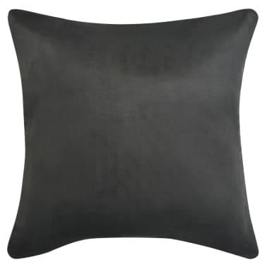 vidaXL Kissenbezüge 4 Stk. 50x50 cm Polyester Wildleder-Optik Anthrazit[2/3]