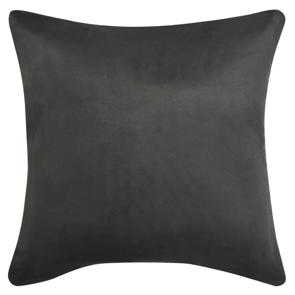 vidaXL Povlak na polštář 4ks 80x80cm polyester umělý semiš antracitová