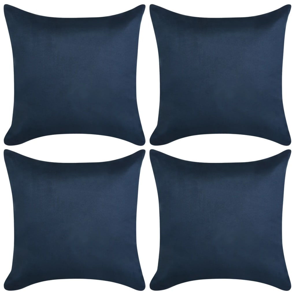 vidaXL Καλύμματα Μαξιλαριών 4 τεμ. Ναυτ. Μπλε 40×40 εκ. Συνθ. Καστόρι