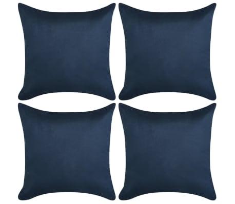 vidaXL Kussenhoezen 4 stuks marineblauw imitatie suède 40x40 cm polyester