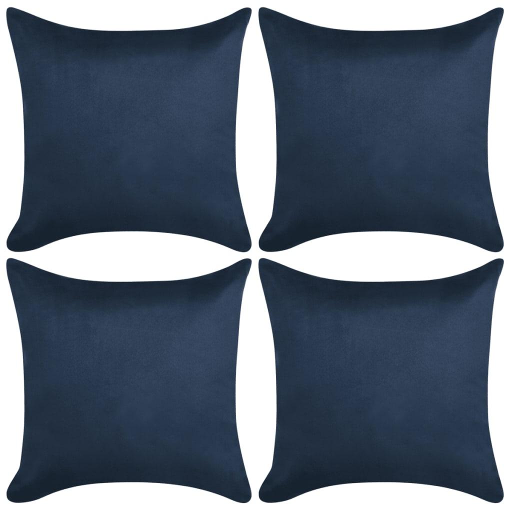 vidaXL Povlaky na polštář 4ks 50x50cm PES umělý semiš námořnická modř