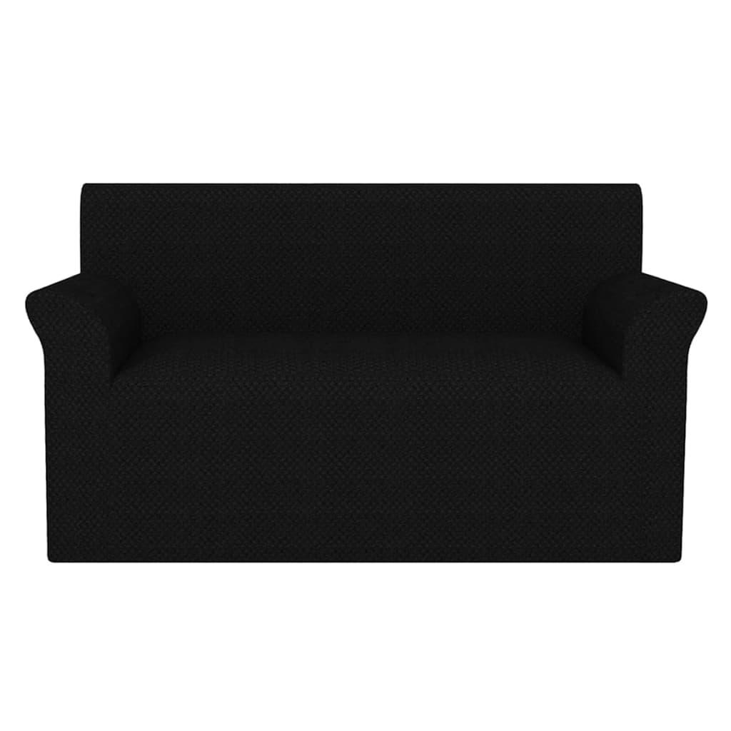vidaXL Husă elastică pentru canapea, textură striată, negru poza 2021 vidaXL