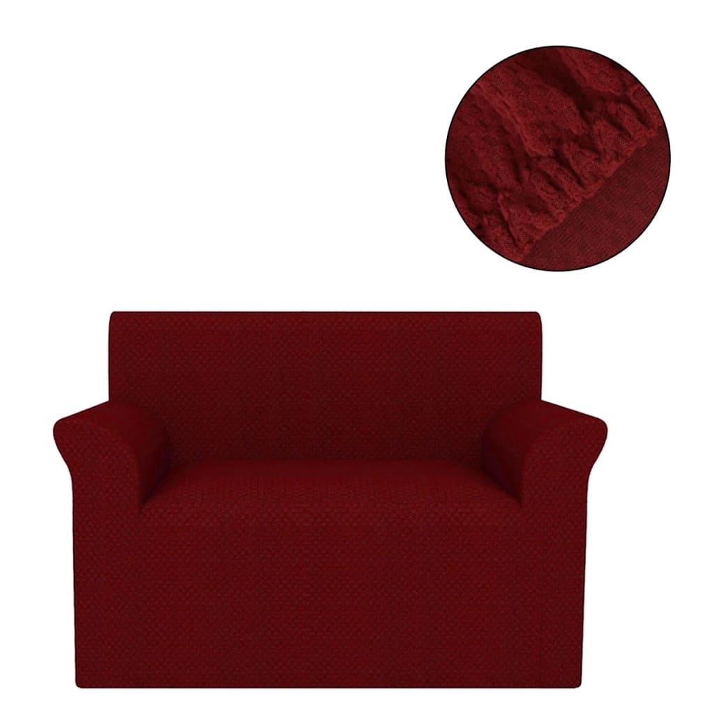 vidaXL Husă elastică pentru canapea, textură striată, roșu burgund poza 2021 vidaXL