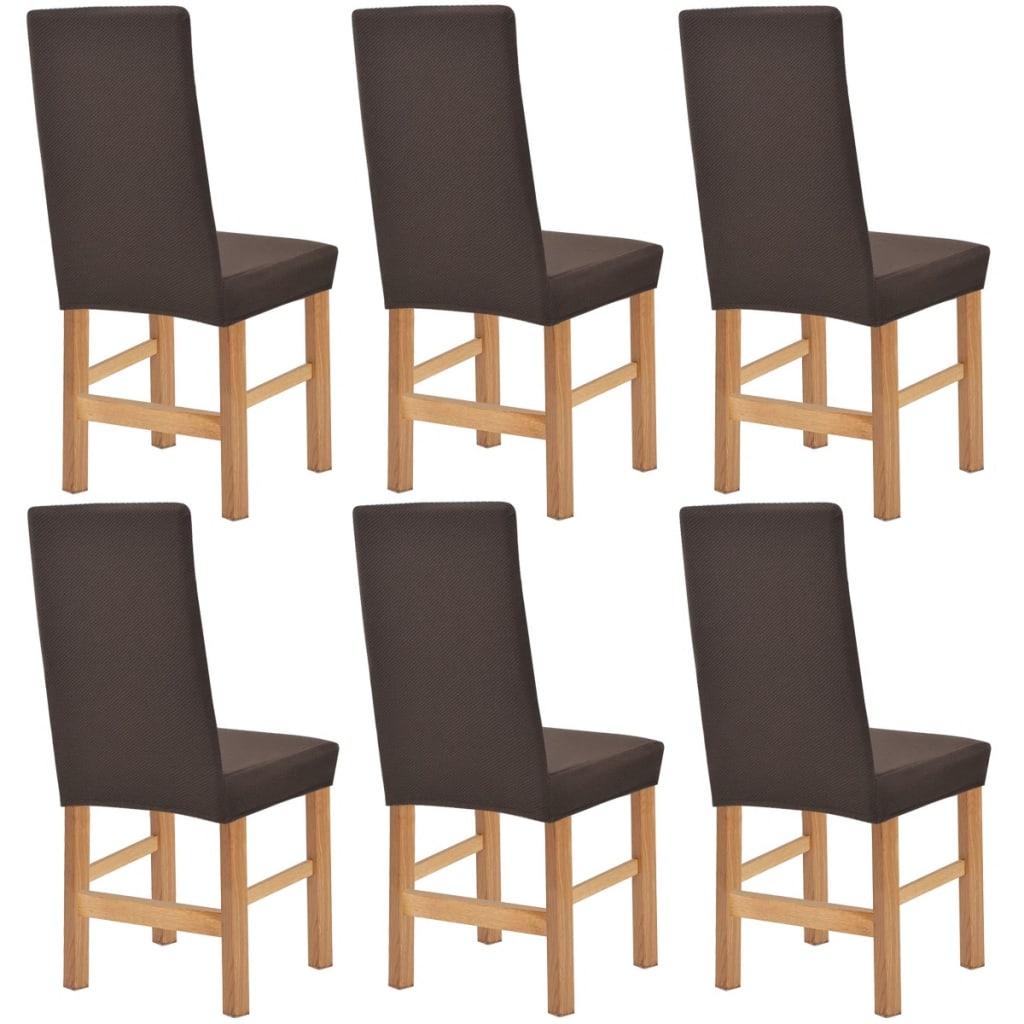 vidaXL Strečové potahy na židle 6 ks hnědá piké
