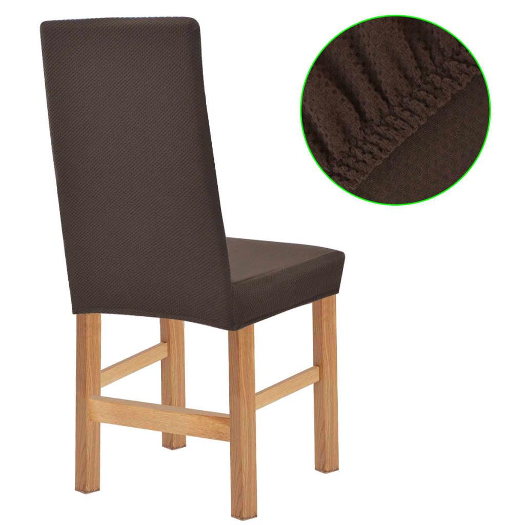 vidaXL Meubelhoes voor stoel stretch piqué bruin 6 st