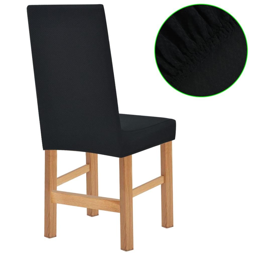 vidaXL Meubelhoes voor stoel stretch piqué zwart 6 st
