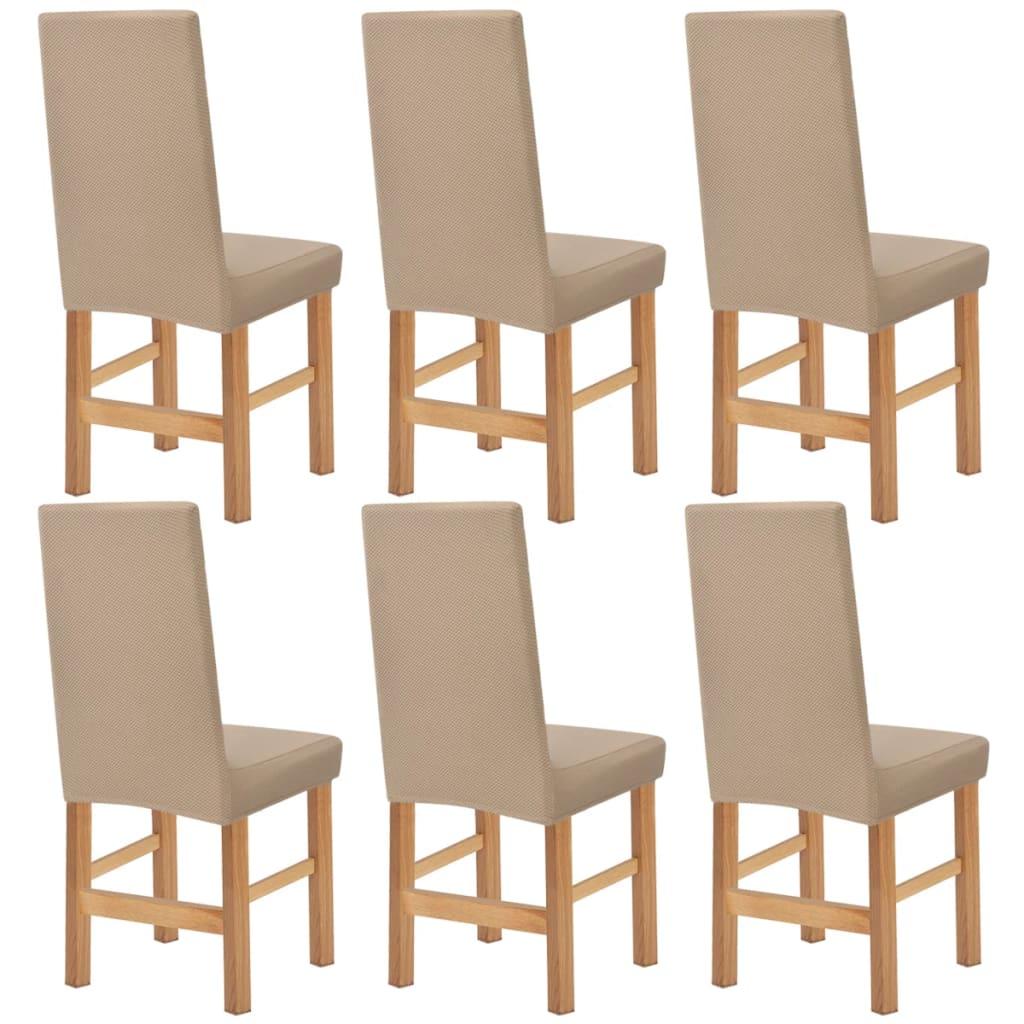 vidaXL Husă elastică pentru scaun 6 buc. bej piqué vidaxl.ro