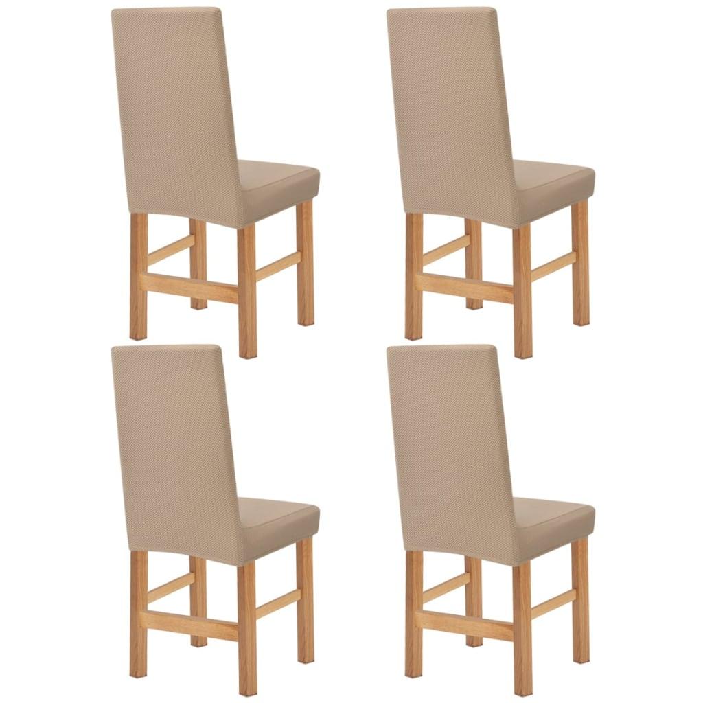 vidaXL Husă elastică pentru scaun, bej Piqué, 4 buc. poza 2021 vidaXL