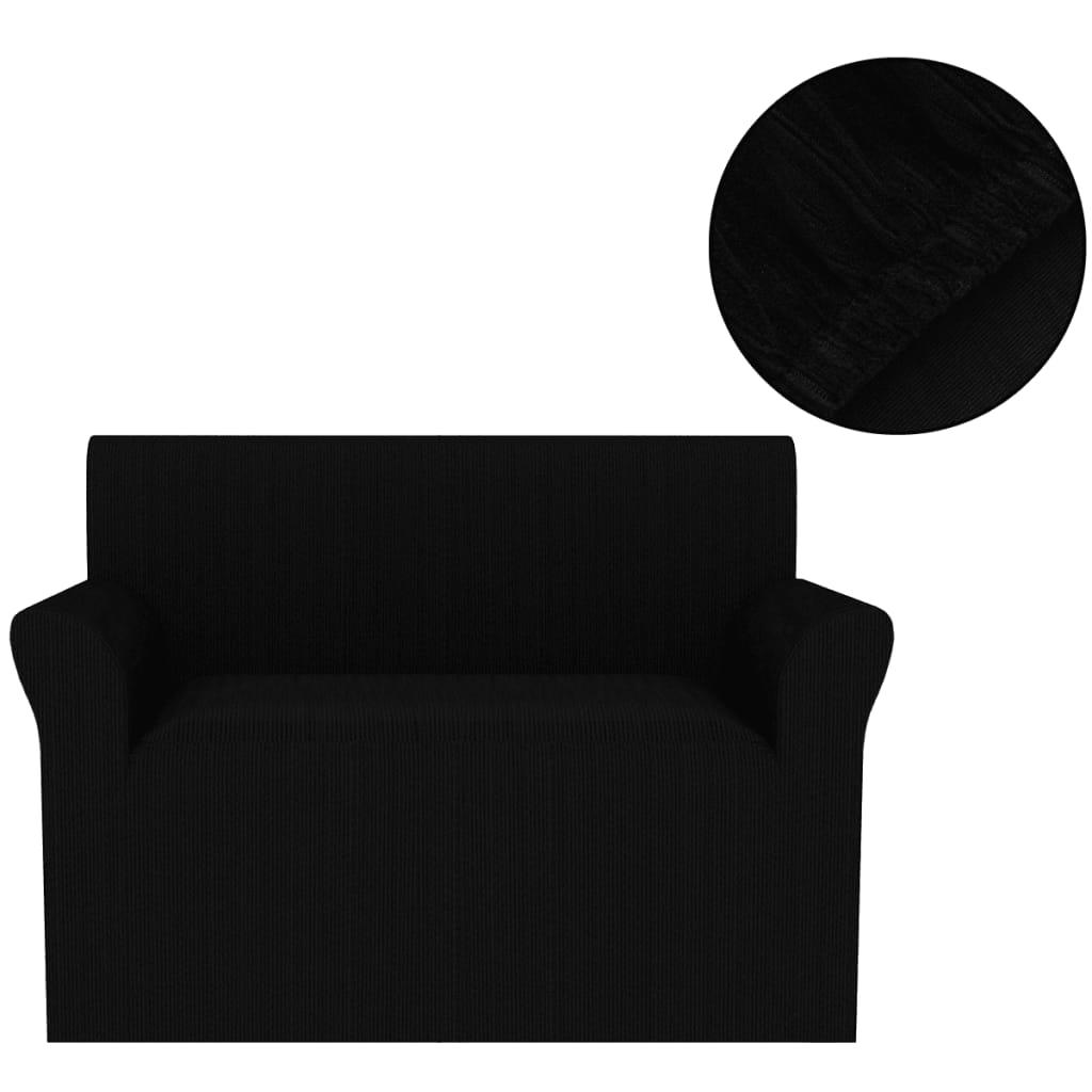 vidaXL Husă elastică pentru canapea, striată, negru poza 2021 vidaXL