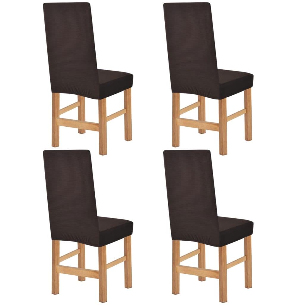 vidaXL Husă elastică pentru scaun, 4 buc, dungi late, maro poza vidaxl.ro