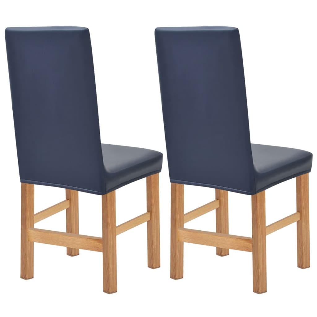 vidaXL Huse elastice pentru scaun, velur sintetic, 2 buc, bleumarin vidaxl.ro