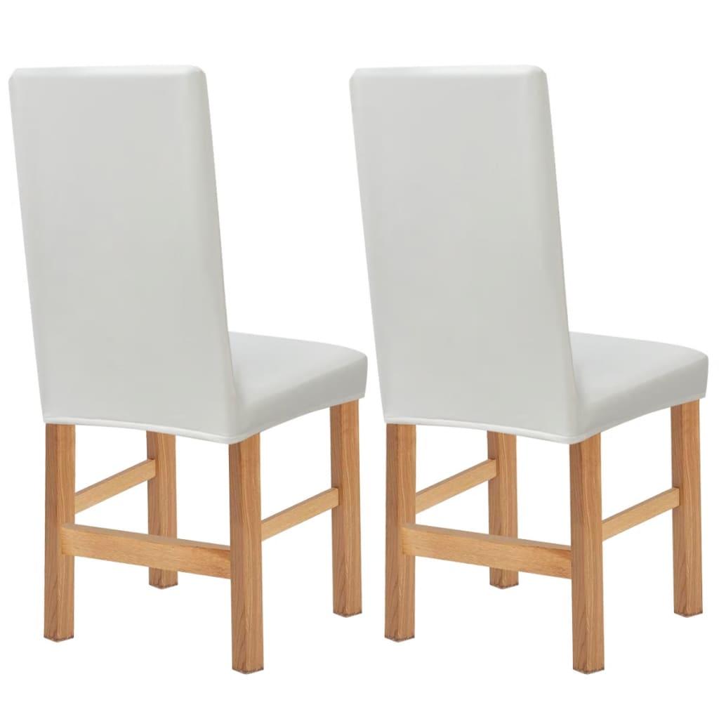 vidaXL Husă elastică pentru scaun, velur sintetic, 2 buc, alb poza 2021 vidaXL
