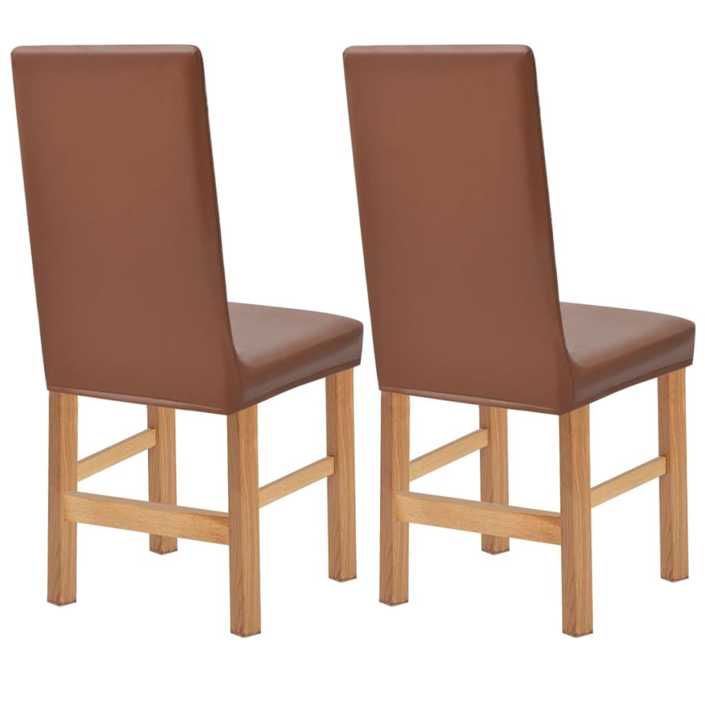 vidaXL Strečové potahy na židli 2 ks hnědá umělý semiš