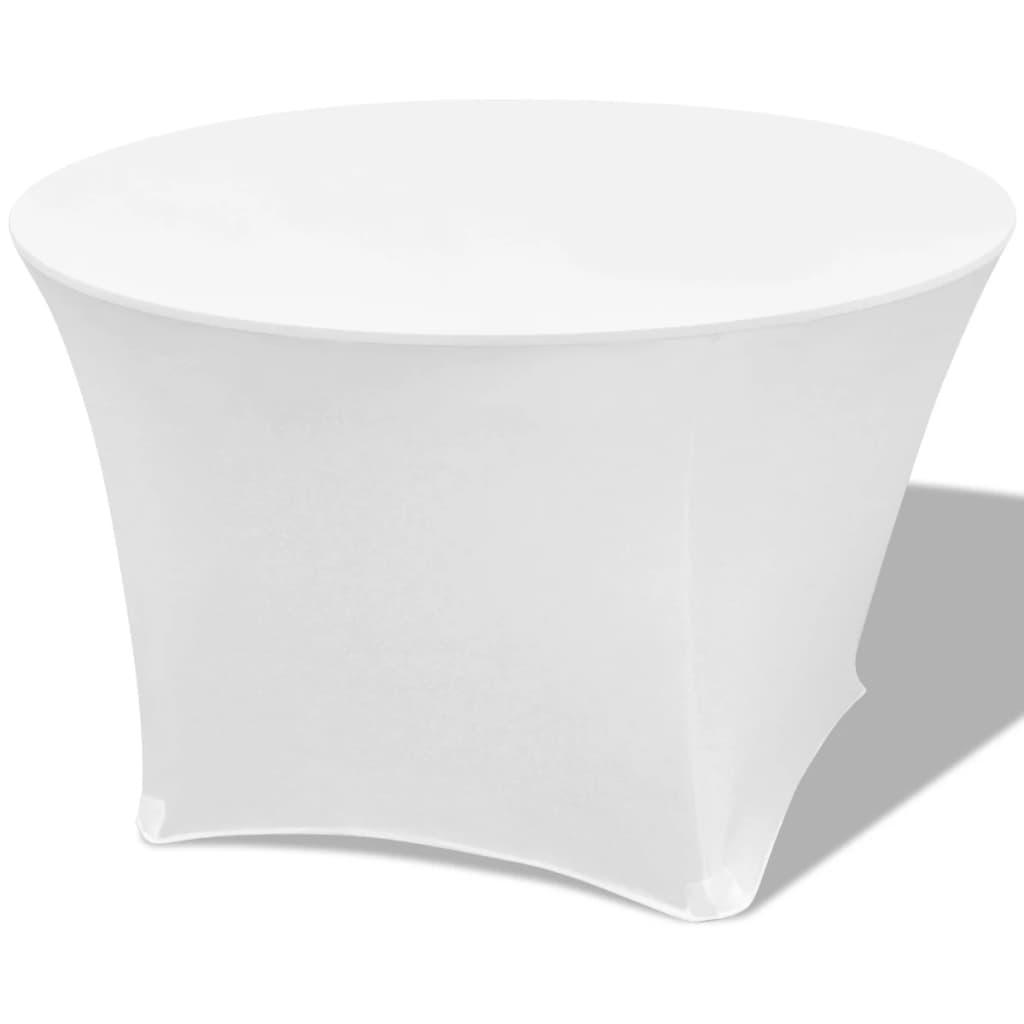 vidaXL Husă elastică pentru masă, formă rotundă 150x74 cm, Alb, 2 buc vidaxl.ro