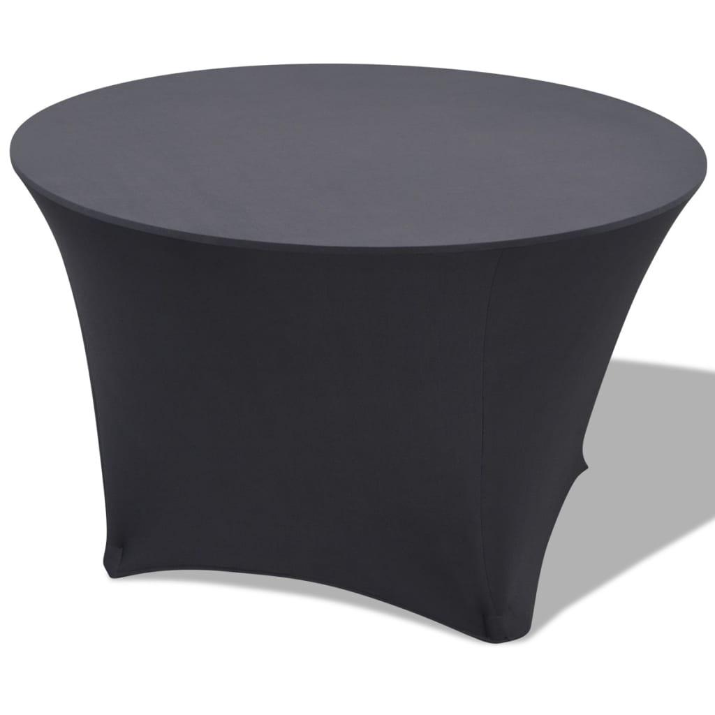 vidaXL Husă elastică pentru masă rotundă 150x74 cm, Antracit, 2 buc. poza 2021 vidaXL