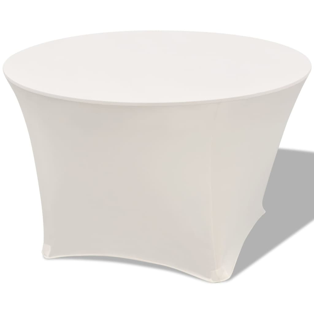 vidaXL Husă elastică pentru masă rotundă 150x74 cm, Crem, 2 buc. vidaxl.ro