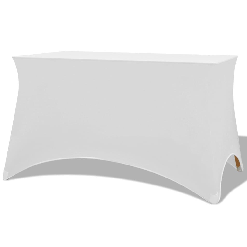 vidaXL Huse elastice pentru masă, 243 x 76 x 74 cm, alb, 2 buc. poza 2021 vidaXL