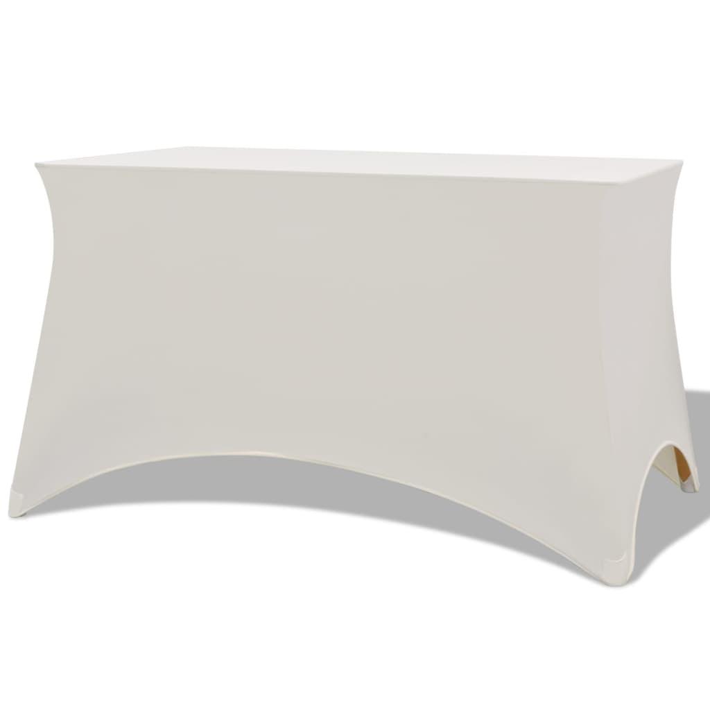 vidaXL Strečový návlek na stůl, 2 ks, 243x76x74 cm, krémový