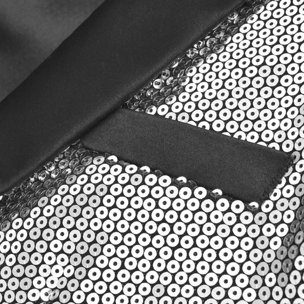 vidaXL Pánské flitrové smokingové sako stříbrné vel. 48