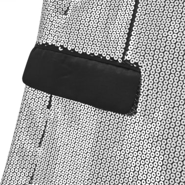 vidaXL Vyriškas švarkas su blizgučiais Tuxedo, sidabrinis, dydis 48[4/5]