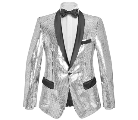 vidaXL Men's Sequin Dinner Jacket Tuxedo Blazer Silver Size 54