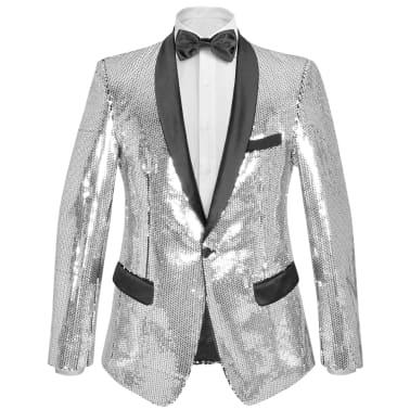 vidaXL Vyriškas švarkas su blizgučiais Tuxedo, sidabrinis, dydis 54[1/5]