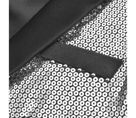 vidaXL Vyriškas švarkas su blizgučiais Tuxedo, sidabrinis, dydis 54[2/5]