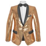 vidaXL Men's Sequin Dinner Jacket Tuxedo Blazer Gold Size 46