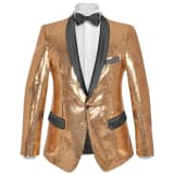 vidaXL Men's Sequin Dinner Jacket Tuxedo Blazer Gold Size 48