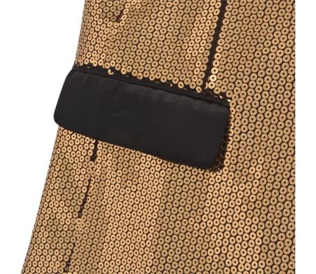 vidaXL Vyriškas švarkas su blizgučiais Tuxedo, aukso spalva, dydis 48[4/5]