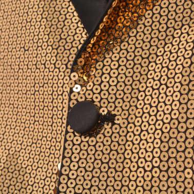 vidaXL Vyriškas švarkas su blizgučiais Tuxedo, aukso spalva, dydis 48[3/5]